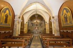 Jerusalén - el cubo de la iglesia de Flagelltion encendido vía Dolorosa de comienza de 20 centavo por el arquitecto Antonio Barlu Imagenes de archivo
