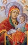 Jerusalén - el icono Madonna r en la iglesia ortodoxa griega de San Juan Bautista en cuarto cristiano a partir del año 1853 Foto de archivo libre de regalías