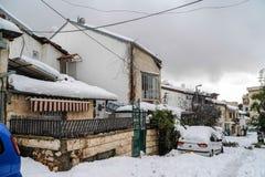 Jerusalén en nieve Fotos de archivo libres de regalías