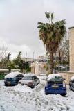 Jerusalén en nieve Foto de archivo libre de regalías