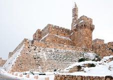 Jerusalén, la fortaleza de David en la nieve fotografía de archivo libre de regalías
