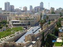 Jerusalén moderna en Israel Calle de Yafo imagen de archivo libre de regalías