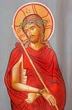 Jerusalam - Kristus i kvalitetssymbolen på tillträdeet till det ortodoxa kapellet på via Dolorosa av den okända konstnären Arkivbild