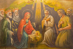 Jerusalame - The fresco of Nativity in The Greek Orthodox Church of the Assumption (Marys tomb) in Kidron valley royalty free stock image