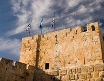 Jerusalem. The detail of Jerusalem City Wall near David's Tower Stock Photo