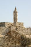 Jerusalem. The Ancient Walls Surrounding Old City in Stock Photo