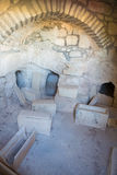 Jerusalem - The ancient chamber withe the ossuarys near the Dominus Flevit church on Mount of Olives Royalty Free Stock Photography