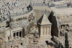 Jerusalem-Ansicht des Ölsaatgebirgsgrabs von Zechariah lizenzfreies stockbild
