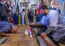 Easter in the church of the holy sepulcher in Jerusalem Royalty Free Stock Image