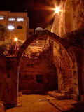 Jerusalem Arch. An arch in a park in the old city in Jerusalem, Israel, at night stock photos