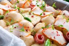 Jerusalem artichoke au gratin with ham and chili Stock Photography