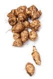 Jerusalem Artichokes. Group of Jerusalem artichokes covered in soil isolated on white background Stock Images