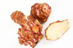 Jerusalem artichokes with white background. A few jerusalem artichokes with white background Royalty Free Stock Images