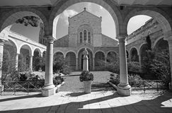 Jerusalem - The atrium of st. Stephens church. JERUSALEM, ISRAEL - MARCH 5, 2015: The atrium of st. Stephens church Stock Photos