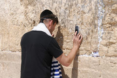 JERUSALEM -August 26 : Jews prays at the Western Wall August 26 , 2010 in Jerusalem, Royalty Free Stock Photography