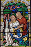 Jerusalem - The baptism of Christ scene on the windowpane in st. George anglicans church from end of 19. cent. JERUSALEM, ISRAEL - MARCH 5, 2015: The baptism of Royalty Free Stock Photography