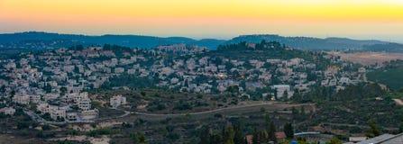 Jerusalem-Berge an der Sonnenuntergangblaustunde Lizenzfreie Stockfotografie