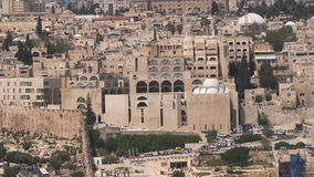 Jerusalem old city aerial perspective stock footage