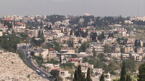Jerusalem old city aerial perspective with traffic on the road stock video