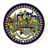 Jerusalem ceramic souvenir dish on white Stock Images