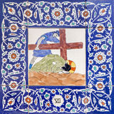 Jerusalem - The ceramic tiled station of Cross way in st. George anglicans church.  Jesus fall under cross. Royalty Free Stock Image