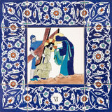 Jerusalem - The ceramic tiled station of Cross way in st. George anglicans church.  Veronica wipes the face of Jesus. Royalty Free Stock Photos