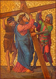 Jerusalem - The Christ carries his cross paint in Armenian Church Of Our Lady Of The Spasm. Royalty Free Stock Images