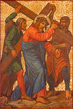 Jerusalem - The Christ under cross paint from end of 19. cent. in Armenian Church Of Our Lady Of The Spasm. Stock Photo