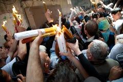 Jerusalem Christians celebrate Holy Fire Royalty Free Stock Photos