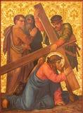 Jerusalem- - Christus-Fall unter Querfarbe vom Ende von 19 cent in der armenischen Kirche unseres jungen Mannes Lizenzfreie Stockbilder