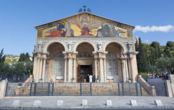 Jerusalem - The Church of All Nations (Basilica of the Agony) by architect Antonio Barluzzi (1922 - 1924). JERUSALEM, ISRAEL - MARCH 3, 2015: The Church of All stock image