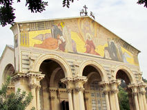 Jerusalem Church of All Nations sculptures on columns 2012) Royalty Free Stock Photography