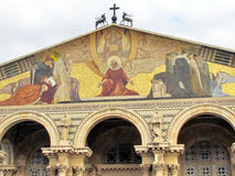 Jerusalem Church of All Nations Triangular mosaic on facade 201 Royalty Free Stock Photo