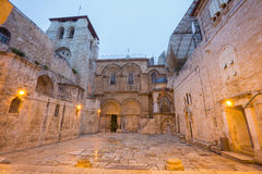 Jerusalem - Church of the Holy Sepulchre at dusk Stock Image