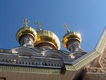 Jerusalem Church St. Maria Magdalena gold Domes  Royalty Free Stock Images