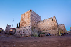 Jerusalem - The citadel walls in evening Royalty Free Stock Photography