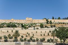 View from the Mount of Olives of the Golden Gate in Jerusalem stock photos