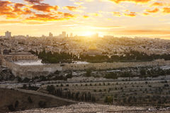 Jerusalem city by sunset Royalty Free Stock Photography