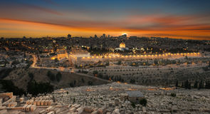 Jerusalem city by sunset Royalty Free Stock Image