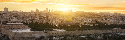 Jerusalem city by sunset Stock Images