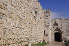 Jerusalem city walls Stock Photos