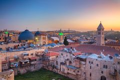 City of Jerusalem, Israel. Jerusalem. Cityscape image of old town of Jerusalem, Israel at sunrise Stock Image