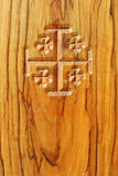 Jerusalem Cross on Wood Stock Photo