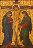 Jerusalem - The Crucifixion paint from end of 19. cent.  in Armenian Church Of Our Lady Of The Spasm. Stock Photos