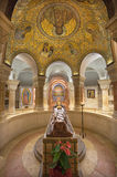 Jerusalem -The crypt of Dormition abbey with statue of death Virgin Mary and mosaic on wault Stock Photo