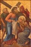 Jerusalem - das Farbe Veronica wischt das Gesicht von Jesus ab Farbe vom Ende von 19 cent in der armenischen Kirche unserer Dame  Stockfotografie