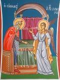 Jerusalem - das Fresko Angel Gabriel Appearing zu Zecheriah im Tempel in der griechisch-orthodoxen Kirche von Johannes der Baptis stockfotografie