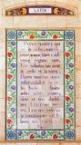 Jerusalem - das lateinischen Gebet des Lords im Atrium der Kirche Pater Nosters auf dem Ölberg Lizenzfreie Stockfotos