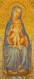 Jerusalem - das Mosaik von Madonna in Dormitions-Abtei durch Benediktiner Radbod Commandeur von der Benediktiner-Abtei von Maria  Stockbild