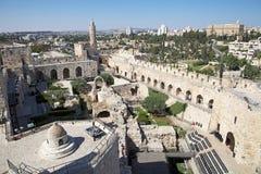 Jerusalem. David's Citadel and Jerusalem city view, Jerusalem, Israel stock image